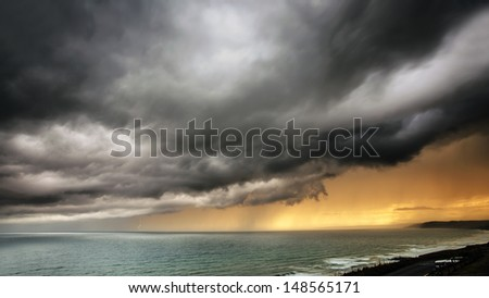 Storm Coming Over the Sea with lightning. - stock photo