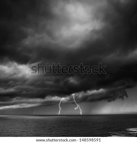 Storm Coming Over the Sea with lightning.