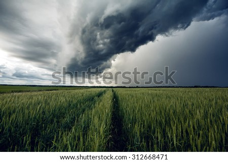 Storm dark clouds over field - stock photo