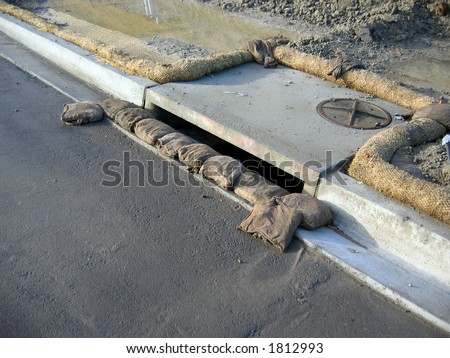 storm drain inlet protection - stock photo