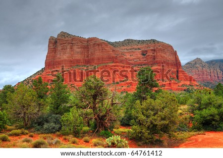 Storm forming over red rock country Sedona, Arizona, USA - stock photo