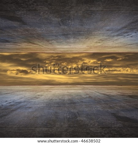 Storm front room - stock photo