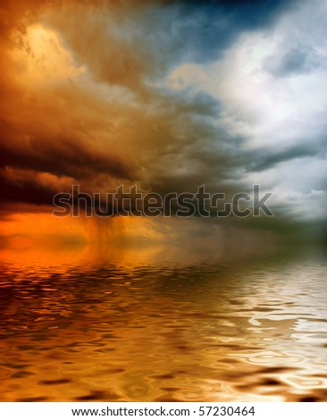 storm hanging over the sea - stock photo