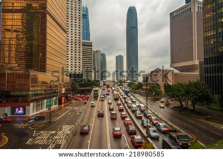 Storm In City With Bad Traffic As Dusk - stock photo