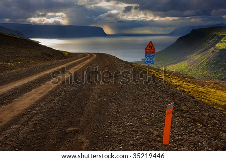Storm in fjord. West Fjords, Iceland - stock photo