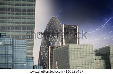 Storm in London. Bad weather over city skyline. - stock photo