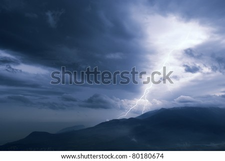 storm in mountine - stock photo