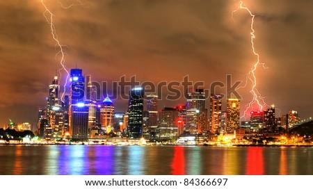 Storm in the city (Sydney) - stock photo