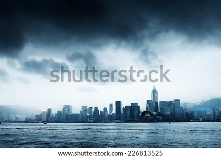 Storm in the Victoria Harbor in Hong Kong - stock photo