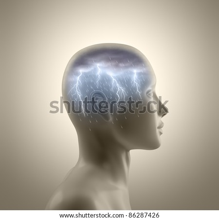 Storm inside the head. Lightning and rain falls from the clouds symbolizing the concept of brainstorm. - stock photo