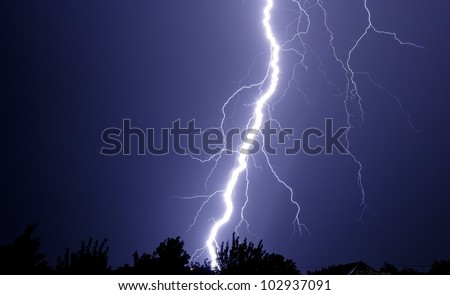storm lightning from sky to earth at night