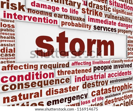 Storm meteorology warning message background. Hurricane natural disaster poster design - stock photo