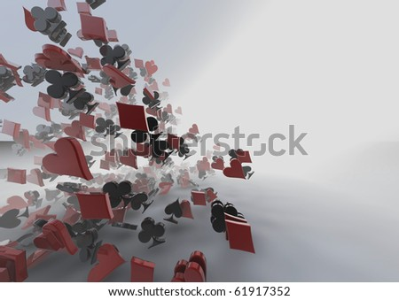storm of card suits - stock photo