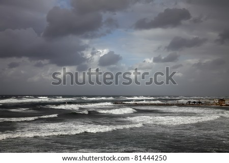 Storm of Mediterranean sea - stock photo