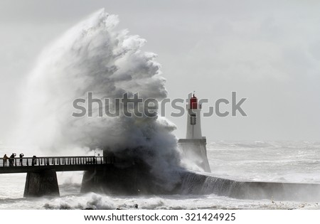 Storm on a lighthouse - stock photo