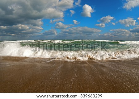 storm on Black sea at October - stock photo
