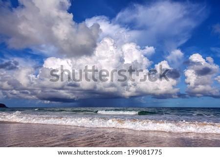 Storm on Karon Beach. Phuket Island in Thailand. - stock photo