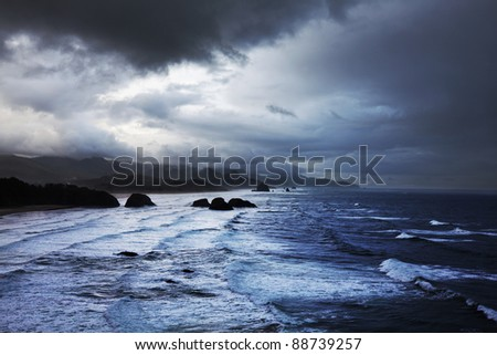 storm on Pacific ocean - stock photo
