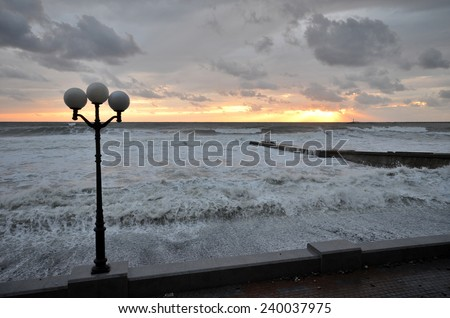 Storm on the beach in the Sochi, Russia - stock photo