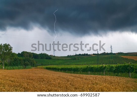 storm on the grain field