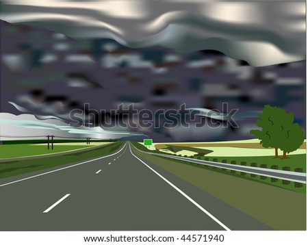 Storm on the Horizon with Interstate Highway and Sign with Copy Space. Vector version also available. - stock photo