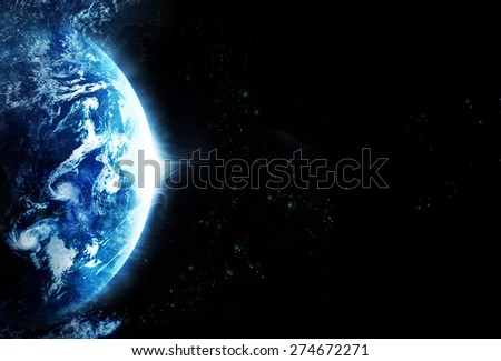 Storm on the planet earth, blank text - Original image from NASA - stock photo