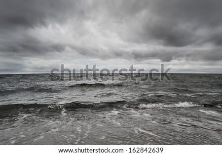 Storm on the sea - stock photo