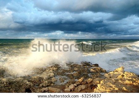 Storm on the sea. Nature composition. - stock photo
