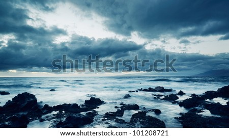 Storm on the Sea, Ocean Storm - stock photo