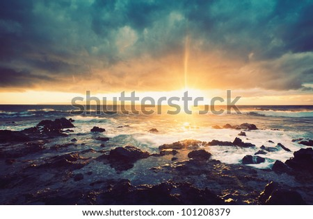 Storm on the Sea, Ocean Storm at Sunset - stock photo