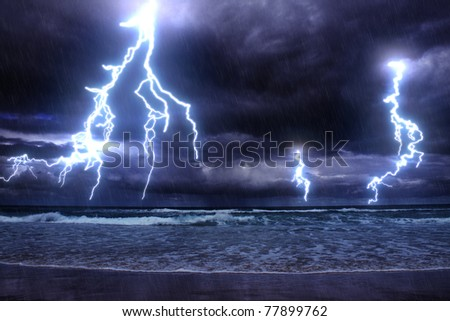 storm on the sea with lightnings - stock photo