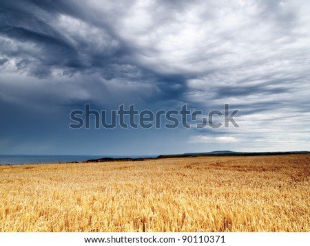 Storm over a field along North Cliffs Cornwall England UK