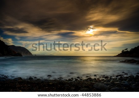 Storm over Bluestone Bay on Tasmania's East Coast - stock photo