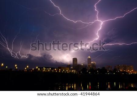 Storm over city - stock photo