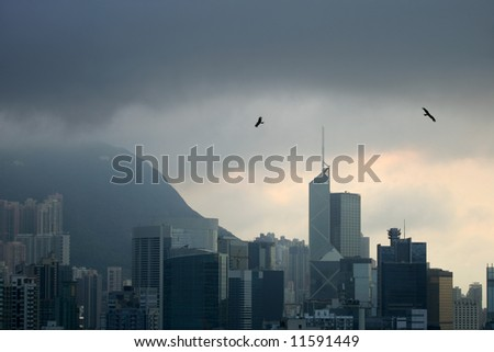 Storm over Happy Valley, Hong Kong - stock photo