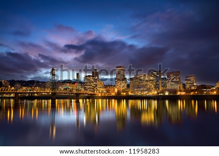Storm Over Portland - stock photo