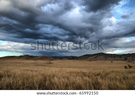 storm over the Australian Outback - stock photo