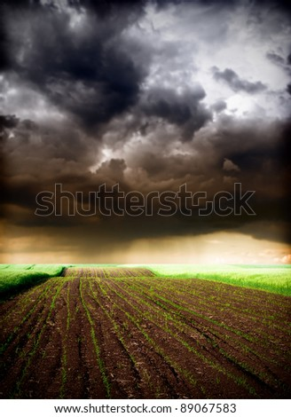 Storm over the field - stock photo