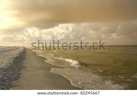 Storm Rolls in on the Beach at Sunrise,