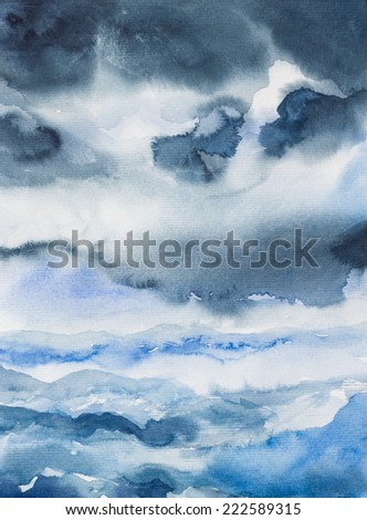 storm seascape watercolor on paper' painted - stock photo