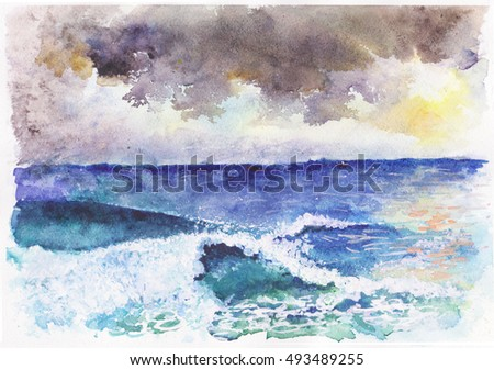 Storm seascape watercolor. Watercolor sea. Deep blue and green storm waves.