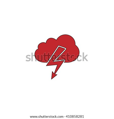 storm Simple red icon on white background. Flat pictogram