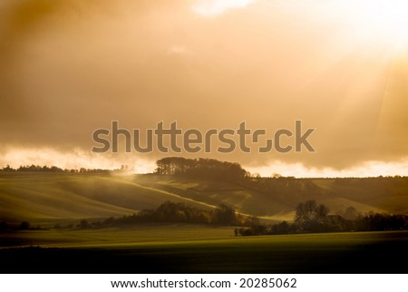 Storm sunny evening, dramatic landscape
