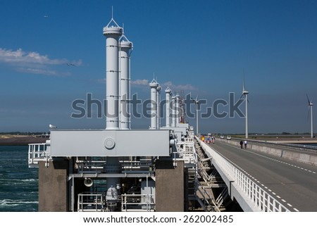 Storm surge barriers at the delta works in Zeeland, Netherlands - stock photo