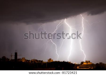 Storm weather nature lightning at rain cloud sky - stock photo