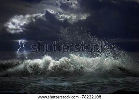 storm with lighting - stock photo