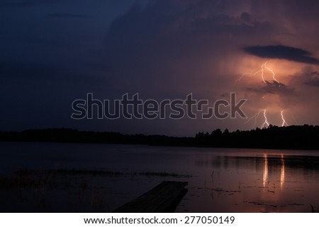Storm with lightning at night - stock photo