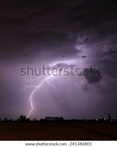 Storm with lightning - landscape - stock photo