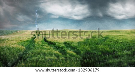 Storm with lightning over the green field.