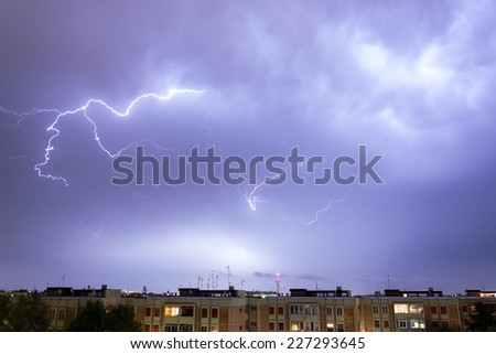 Storm with some lightning strike in the sky - stock photo